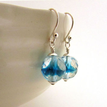 Blue glass earrings, water drop earrings, sterling silver blue earrings, blue swirl earrings, polished Czech glass jewelry, ocean jewelry