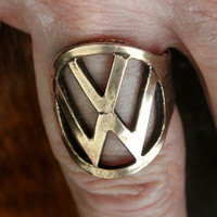 Vintage VW Beetle Key Finger Ring Volkswagen Solid Bronze Automotive Motors Car