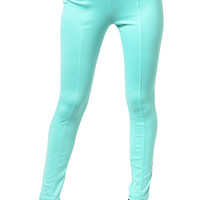 Mint Trendy Lightweight Slim Fit Zipper Pocket Leggings