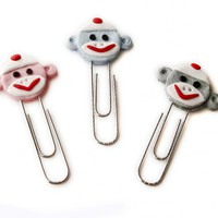 Sock Monkey Face PaperClip Bookmarks Set Of 3 Handmade In Polymer Clay | Luulla
