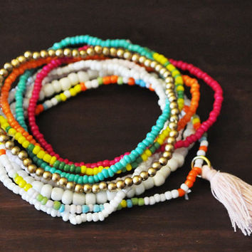 Bright Multi Colored Beads Bracelet