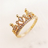 MP Rhodium Plated Cute Crown Golden Ring 061795J J0701