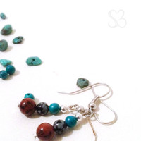 Natural obsidian, tourquoise and silver dangle earrings