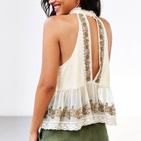 Kimchi Blue Camille High-Neck Lace Tank Top- Cream