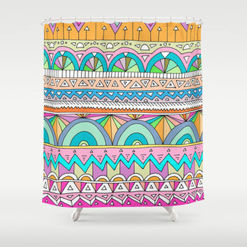 Tribal Lines #3 Shower Curtain by Ornaart