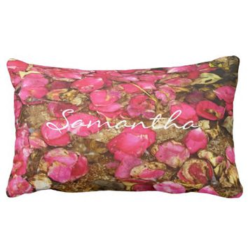 Fallen Rose Petals Lumbar Pillow