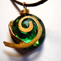 Zelda Necklace Kokiri's Forest Emerald Light by dweebishdelights