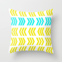 Aqua Pop Zig Zag Throw Pillow by Lisa Argyropoulos | Society6