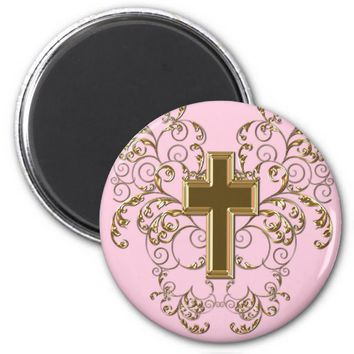 Gold Cross Ornate Scrolls Magnet, Pink