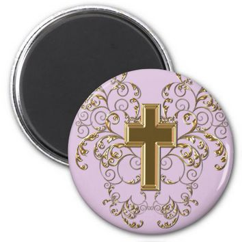 Gold Cross Ornate Scrolls Magnet, Purple