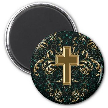 Gold Cross Ornate Scrolls Magnet, Green Sparkles