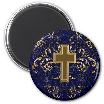 Gold Cross Ornate Scrolls Magnet, Dark Blue