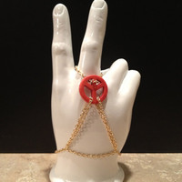 Hippie Peace Sign Slave Bracelet Ring by GroovyGardenias on Etsy