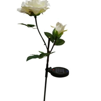 Solar White Rose with White LED Light Garden Stake