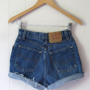 Vintage Levi's Dark Wash High Waisted Cut Off  Denim Shorts Jean Cuffed 23""