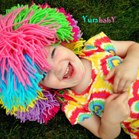 Clown Wig Multicolor Rainbow Yarn Halloween Costume Wig Baby Girl