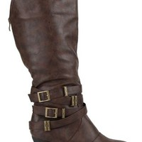 Tall Heeled Western Boot with Braided Straps and Buckle