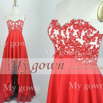 2014 Homecoming Red Lace Dress,High Low Prom Dress,Prom Gown,Cocktail Dress,Party Dress,Evening Gown,Formal Dress,Ball Dress,Wedding Dress
