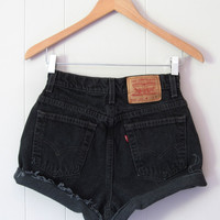 90s Vintage Levi's Black High Waisted Cut Off Denim Shorts Jean Cuffed 25""