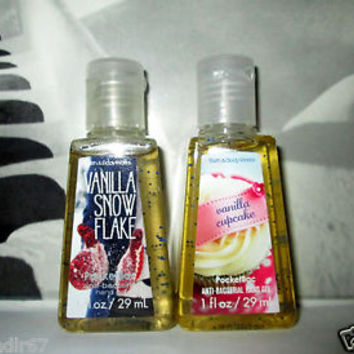 2 Bath Body Works PocketBac: Vanilla Snowflake+Vanilla Cupcake Hand Sanitizer