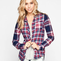 Full Tilt Plaid Mix Womens Flannel Shirt Blue Combo  In Sizes