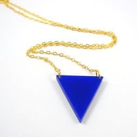 Blue Triangle on Gold Plated Chain Geometric by MistyAurora