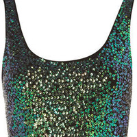 Sequin Crop Top - Jersey Tops - Apparel - Topshop USA