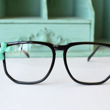 Black Nerdy Costume Frames with Sea Green Bow by oflovelythings
