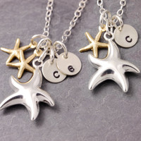 Mother Daughter Necklace - starfish necklace, mother necklace, mom necklace, mother of twins, mommy necklace, initial necklace, personalized