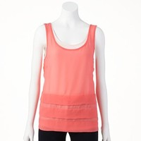 ELLE™ Mixed-Media Tiered Tank - Women's