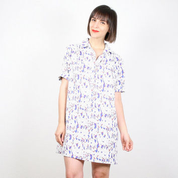 Vintage 80s Shirtdress Mini Dress GOOSE Duck Bird Print Dress Preppy Shift Dress Red White Blue Novelty Print Uniform Dress L XL Extra Large
