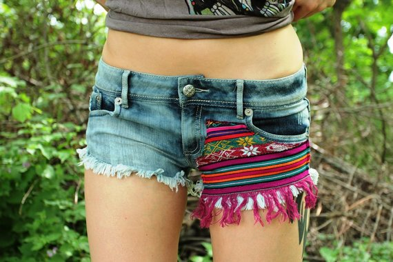 Ethnic Print Patches Fringe Gypsy Denim by GitchiGamiClothing
