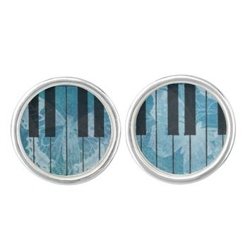 Piano Blue Aqua Butterfly Cuff Links