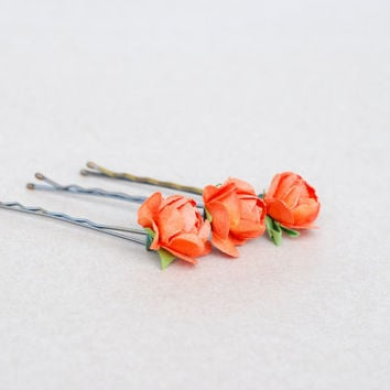Dark Peach rose bobby pins,Floral hair accessories,Summer fashion
