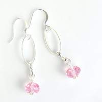 Pink crystal dangle earrings, rose dangle earrings, crystal drop earrings, Swarovski crystal earrings, silver crystal earrings