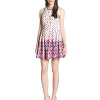Juicy Couture Women's Deco Floral Ponte Fit and Flare Dress