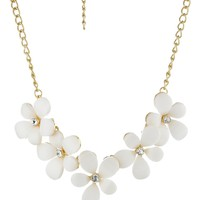 Cabochon Floral Statement Necklace Crystal Accents, 19.5""