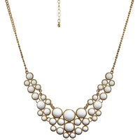 "Cabochon Bubble in Gold Tone Necklace, 19""+3"" Extender"