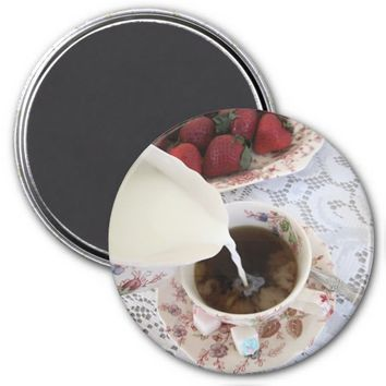 Coffee with Rose Chintz Refrigerator Magnet