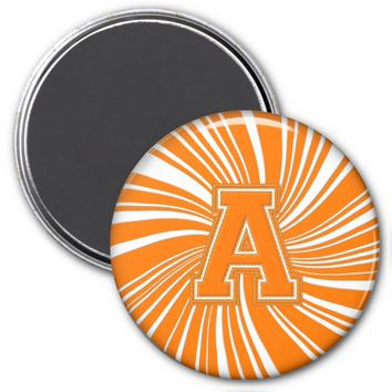Collegiate Letter Magnet Orange-White-A