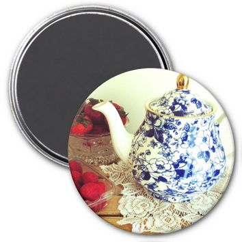 Red White and Blue Tea Scene Refrigerator Magnet