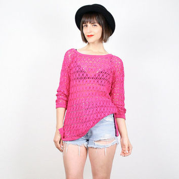 Vintage Hot Pink 1980s Crochet Shirt Sheer Netting Macrame Knit Long Sleeve TShirt Jumper New Wave Bright 1980s Neon Pink Top S M Medium L