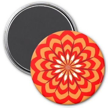 Curves Flower Refrigerator Magnet, Orange