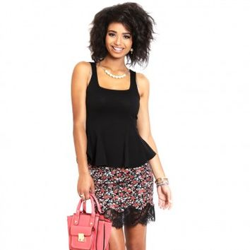Floral Print Skirt with Lace Hem Bottom
