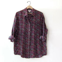 20% OFF SALE / 90s oversized silk shirt. Paisley print blouse. minimalist top.