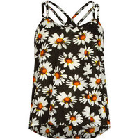 FULL TILT Daisy Print Girls Cross Back Swing Tank