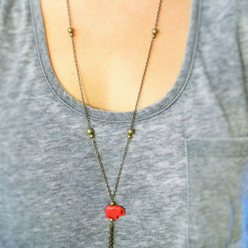 Elephant Stone Bronze Necklace with tassel