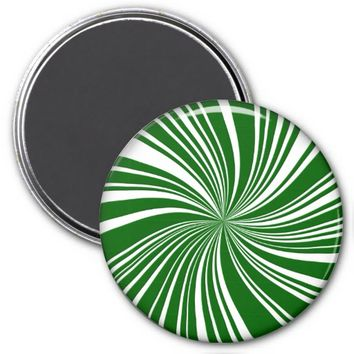 School Colors Twirl Magnet, Green-White
