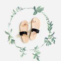 FREE SHIPPING - Black pony and rose gold Persephone Greek sandals, handcrafted in genuine leather.