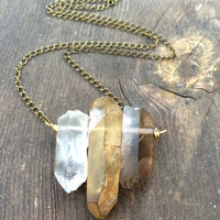 Raw Crystal Necklace Quartz Crystal Necklace Crystal Point Necklace Healing Crystal Necklace Smoky Quartz Lemon Quartz Clear Quartz Crystal